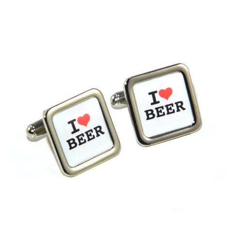 I Love Beer Lager Lovers Drinking Cufflinks