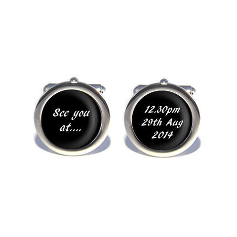 personalised see you at time cufflinks