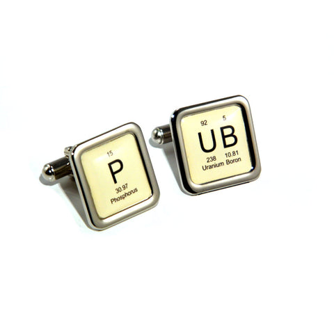 Pub Periodic Table Design Beer Lovers Cufflinks