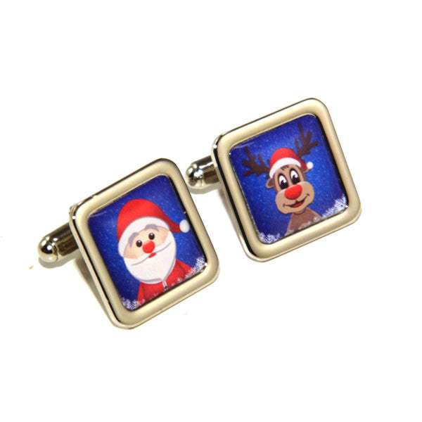 Santa and Rudolph Christmas Cufflinks