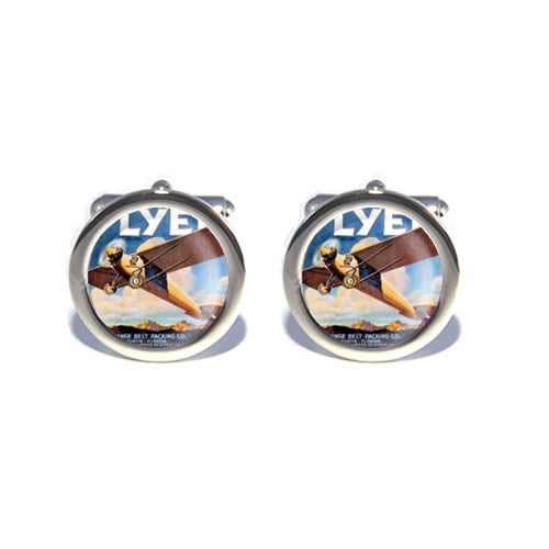 brown vintage airplane cufflink