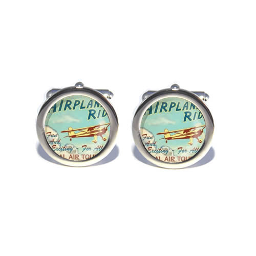 green vintage airplane cufflink
