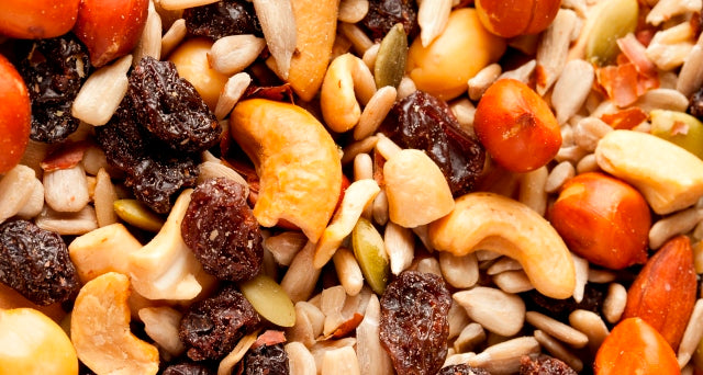 trail mix with nuts, seeds, and dried fruit