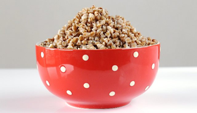 red and white bowl with buckwheat
