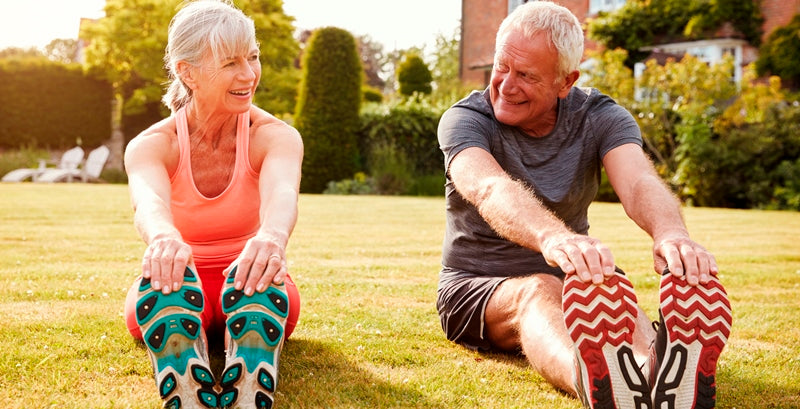 healthy senior couple exercising