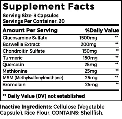 Maximum Flex Supplement facts
