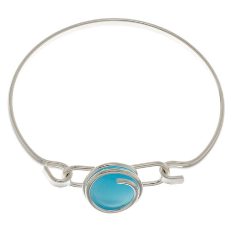 HANDBLOWN AQUA GLASS BRACELET