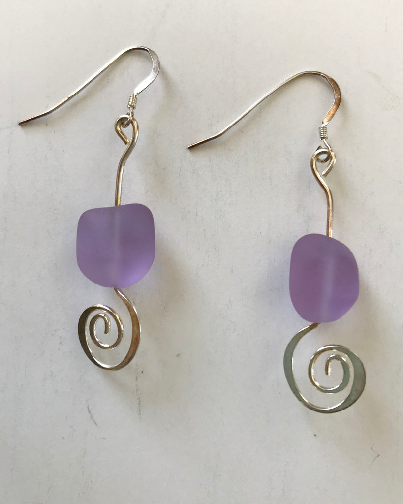 Lavender Sea Glass Spiral Earrings