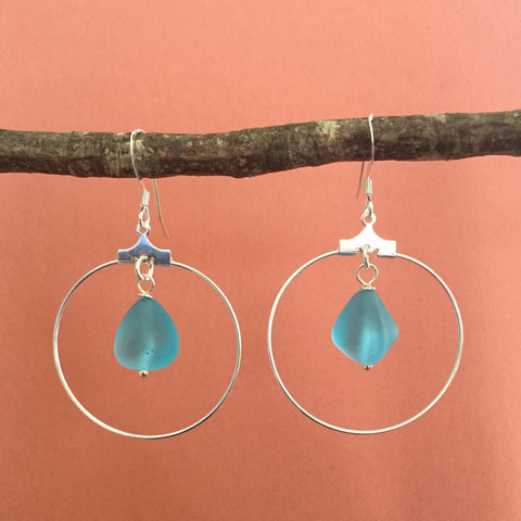 AQUA SEA GLASS HOOP EARRINGS