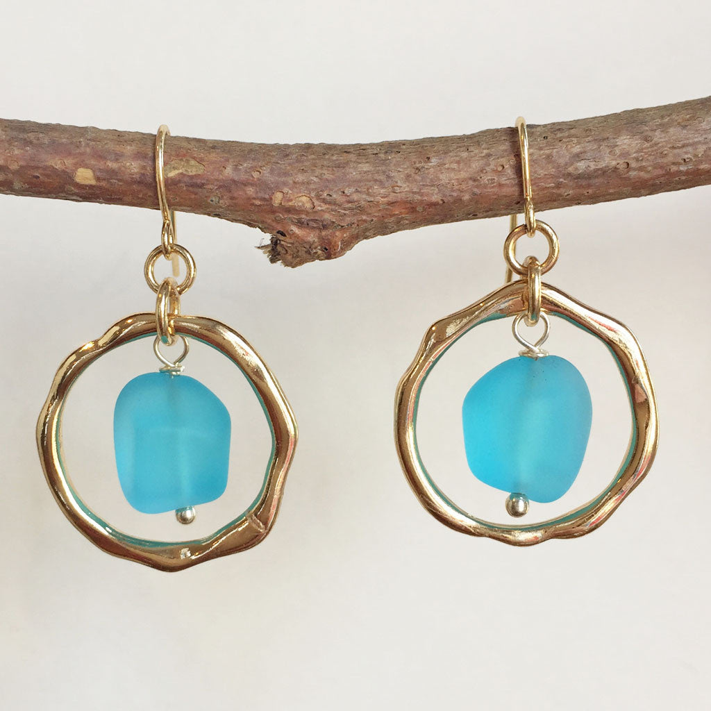 GOLDTONE OCEAN WAVES SEA GLASS EARRINGS - NEW!