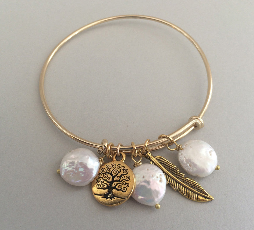 Gold-Plated Pearl Charm Bracelet