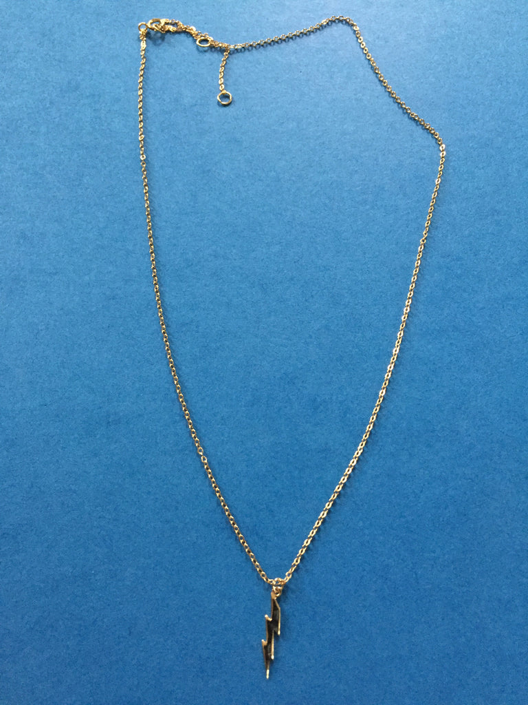 GOLD VERMEIL LIGHTNING BOLT CHARM NECKLACE