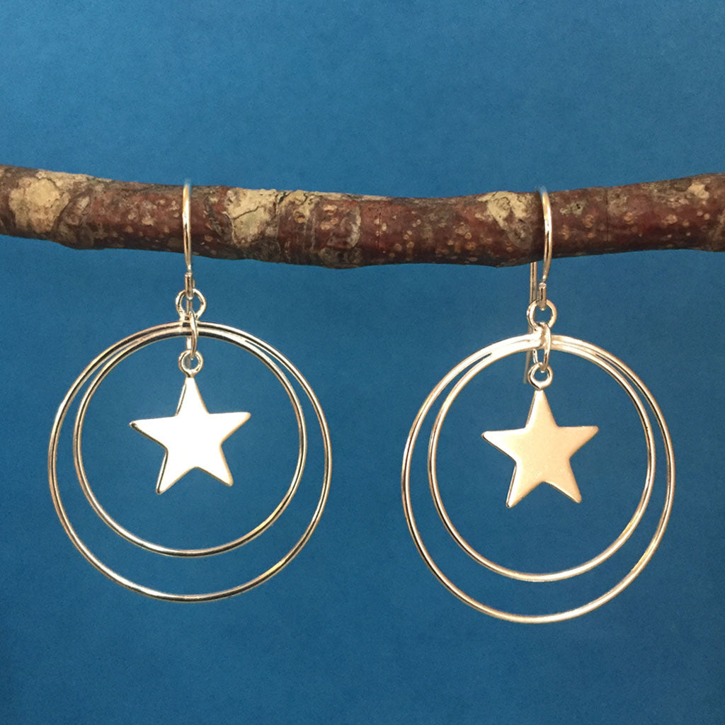 STERLING SILVER STAR EARRINGS - NEW!