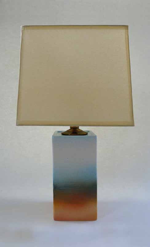 RECTANGULAR LAMP - WHITE/PEACH