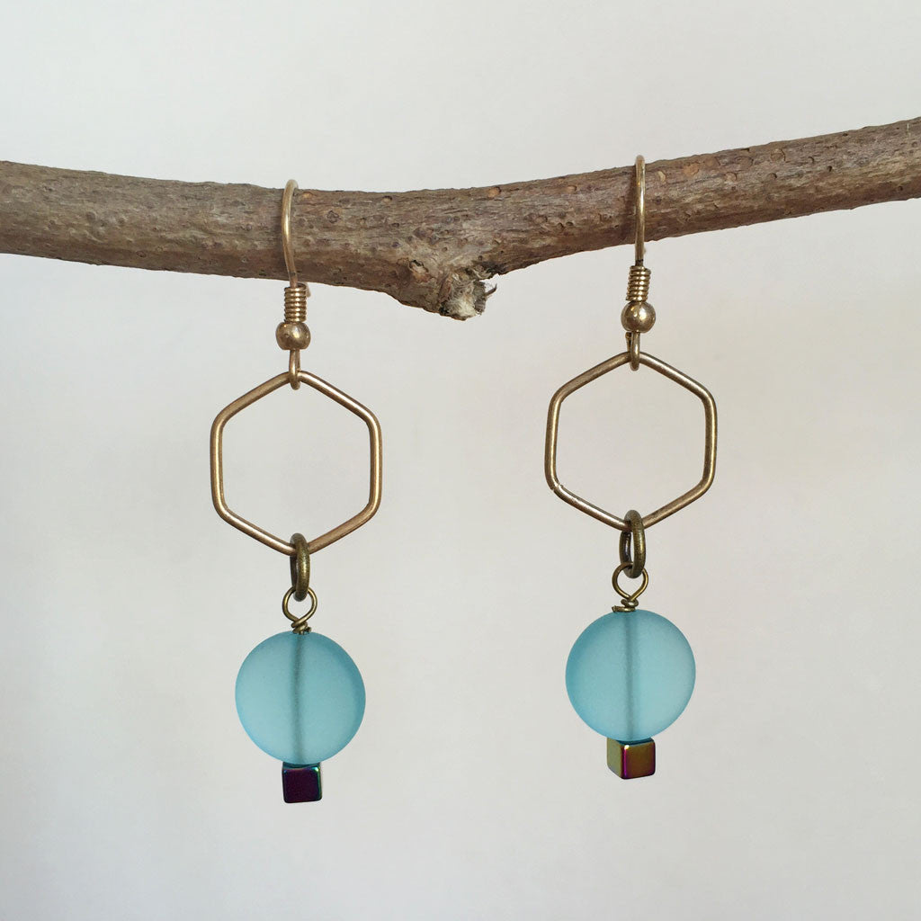 ANTIQUED BRASS SEA GLASS EARRINGS - NEW!
