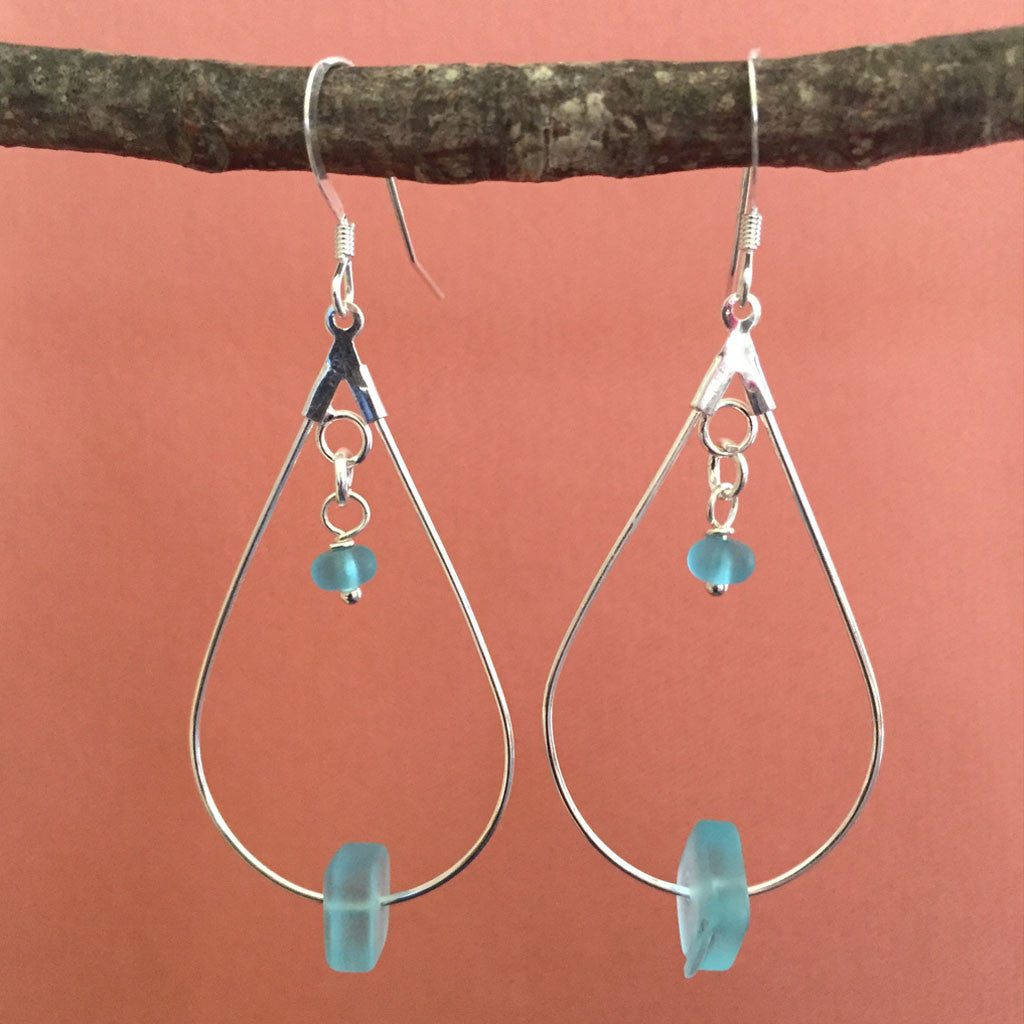 ARIA AQUA SEA GLASS EARRINGS