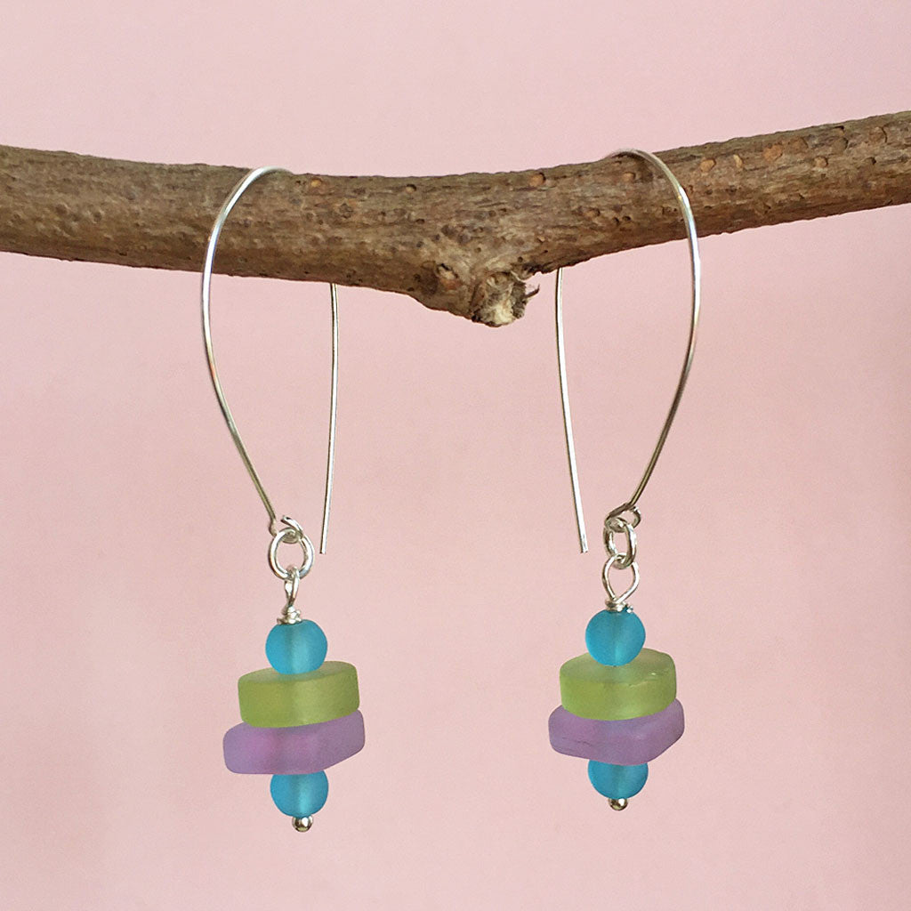 BEACH DAY SEA GLASS EARRINGS - NEW!