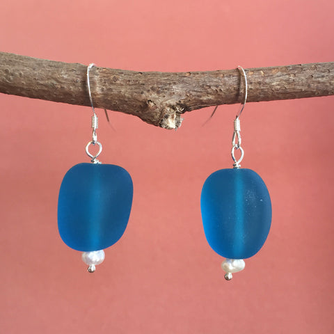 DEEP-SEA SEA GLASS EARRINGS