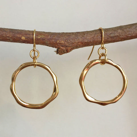 GOLDTONE OCEAN WAVES HOOP EARRINGS