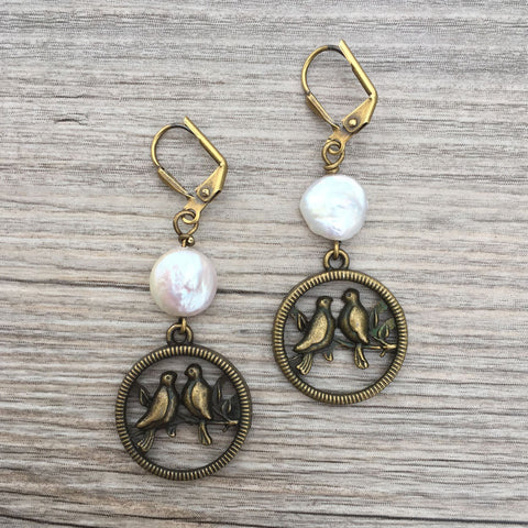 LOVEBIRD PEARL EARRINGS - NEW!