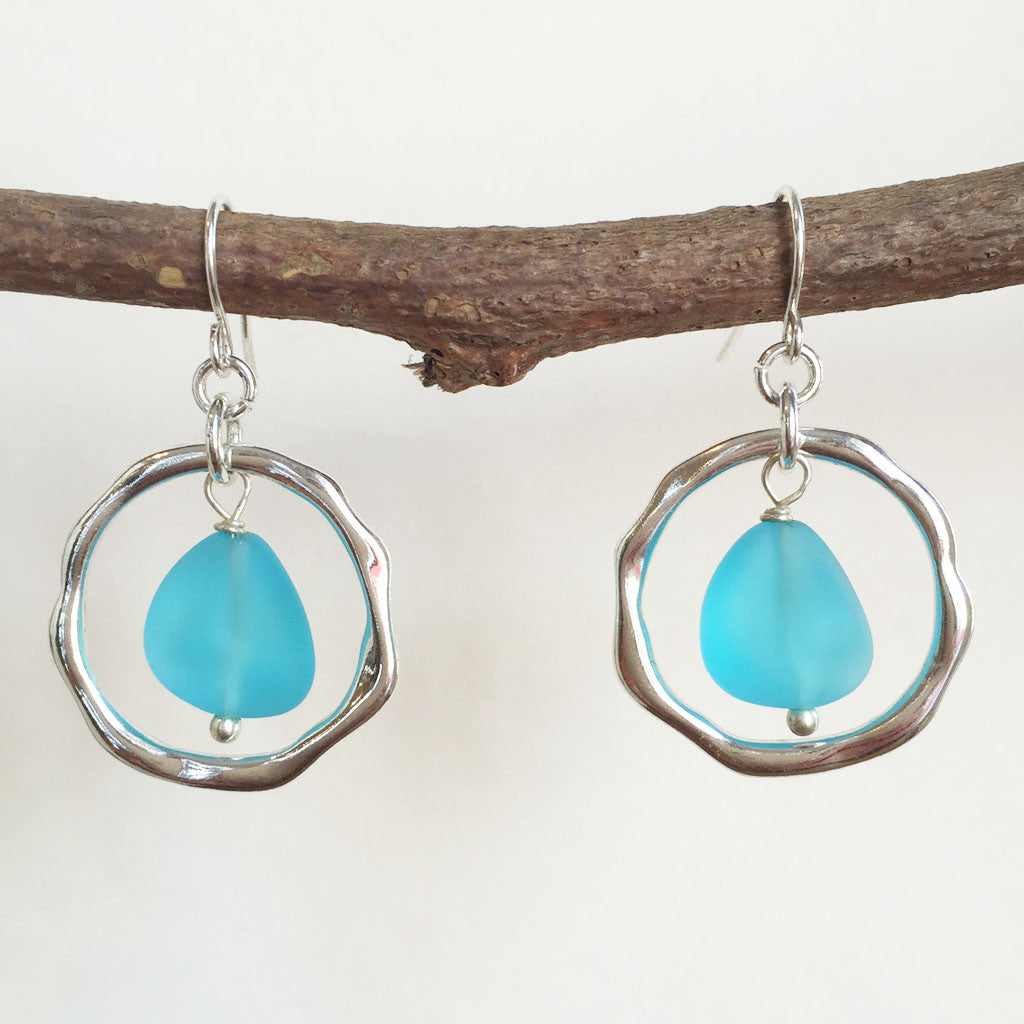 OCEAN WAVES SEA GLASS EARRINGS