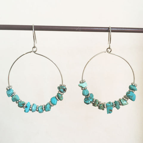 SEA BEADED HOOP EARRINGS