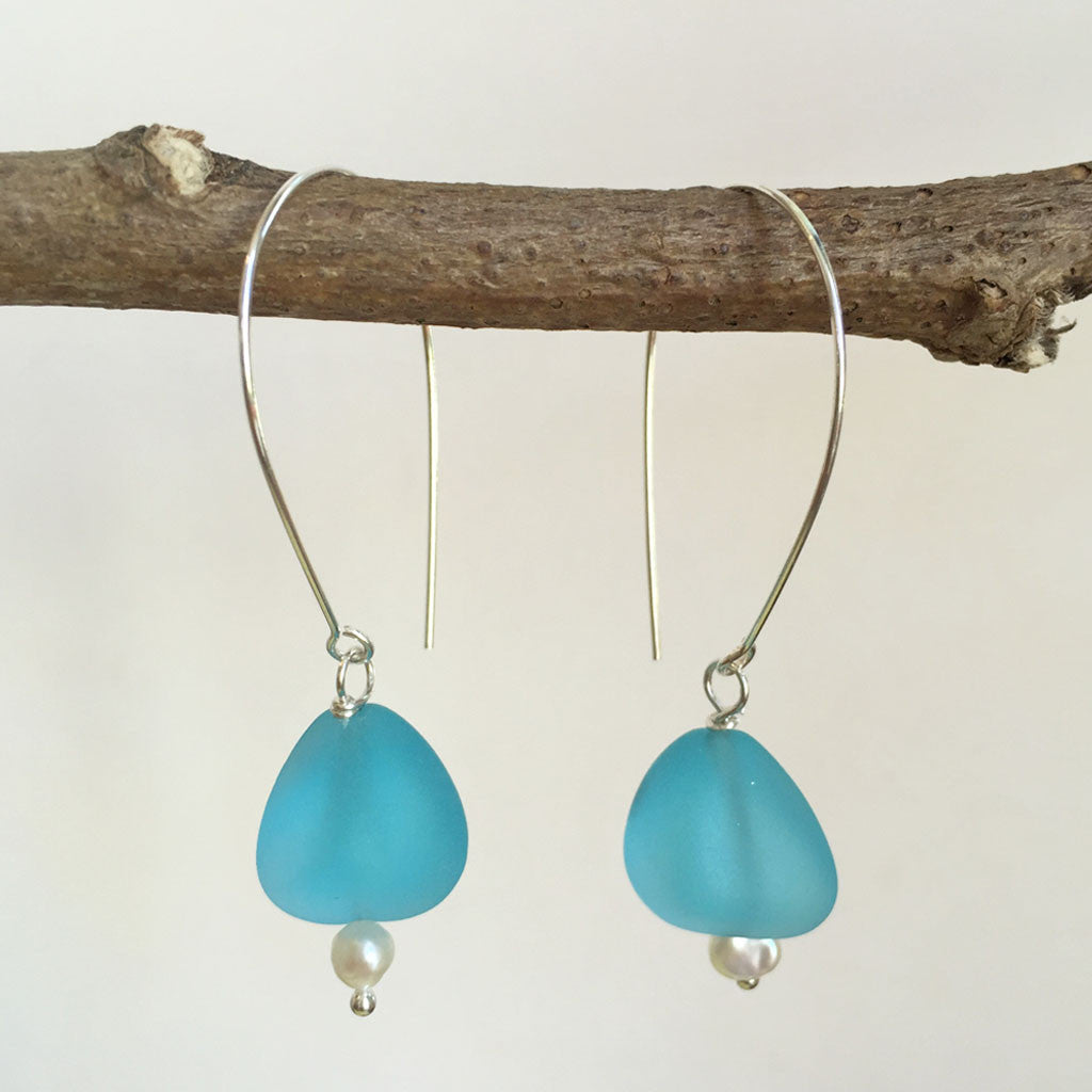 SEA GLASS PEARL SUMMER EARRINGS