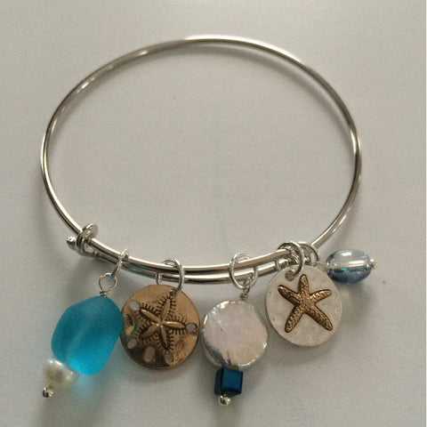 Sea Glass Starfish Charm Bracelet