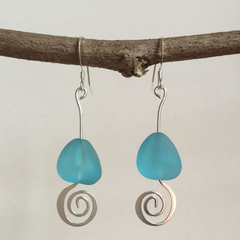 SPIRAL SEA GLASS EARRINGS