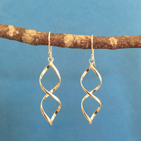 STERLING SILVER TWIRL EARRINGS - NEW!