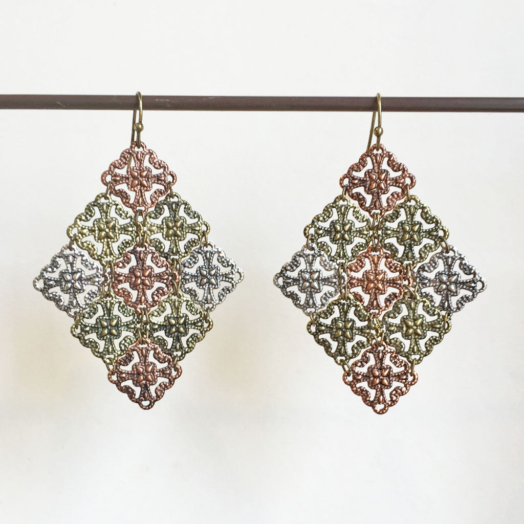 TRICOLOR MESH EARRINGS - BOGO ITEM!