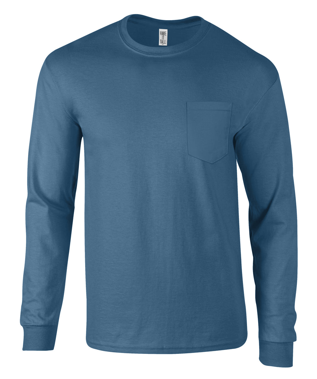 Have It Tall Premium Cotton Long Sleeve T Shirt With Pocket