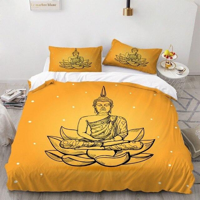 Parure de Lit Zen Bouddha Orange