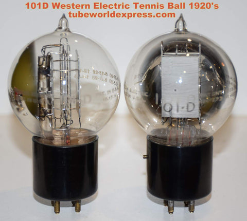 (!!!!) (#1 101D Pair) 101D Western Electric Tennis Ball 1920's test like new (7.8ma and 8.4ma)