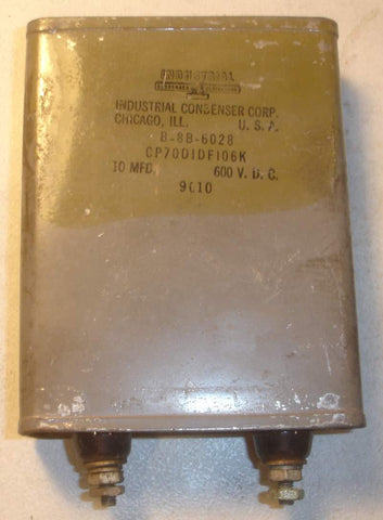 10uf /600VDC Industrial Condenser Corp. oil cap used/good