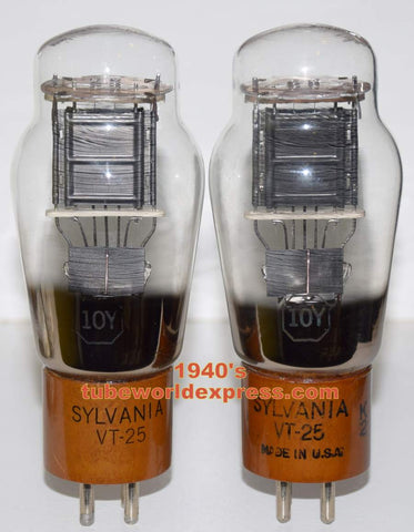 (!!!!!) (Best Pair) 10Y=VT-25 SYLVANIA NOS 1940's (1 tube) has some scrapes on base (24.6ma and 26.2ma)
