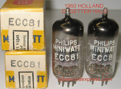 (!!!) (#1 12AT7 Holland Pair) 12AT7=ECC81 Philips Miniwatt Holland