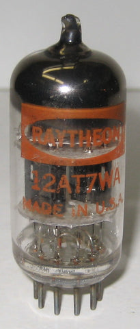 12AT7WA Raytheon black plates - triple mica - O getter halo 1960's mis-matched triode sections (7/12ma)