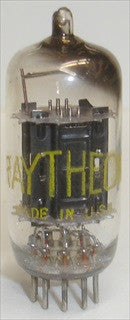 (!!!) (#1 12AU7 Raytheon 1958) 12AU7 Raytheon Black Ribbed Plates NOS 1958,