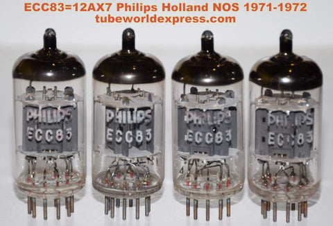 (!!!!!) (#2 12AX7 Holland Matched Quad) 12AX7=ECC83 Philips Holland NOS 1971 (1.4/1.5ma and 1.4/1.5ma x 4 tubes) (1-2% matched) (High Ma and Gm)