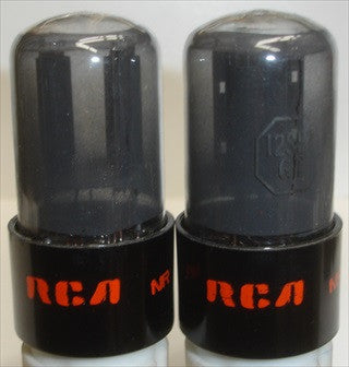 (!) (#1 12SL7GT RCA PAIR) 12SL7GT RCA gray coated glass black round plates 1940's relabeled/reprinted RCA around 1970