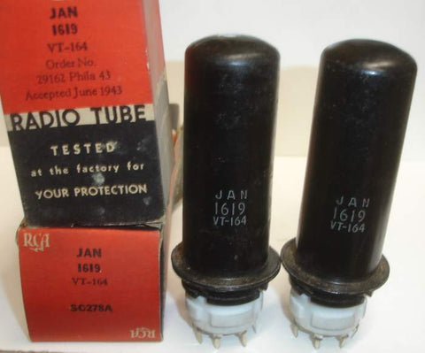 (!) JAN-1619=VT-164 RCA NOS 1943 (1 pair: 55ma and 57ma)