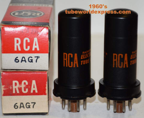 (!!) (Recommended Pair) 6AG7 RCA NOS 1960's same date codes (27.5ma and 29.2ma)