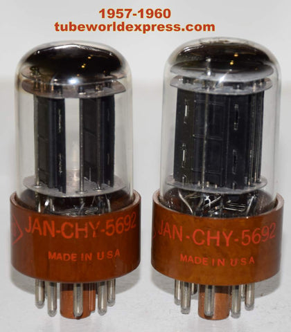 (!!!!) (Best Pair) JAN-CHY-5692 CBS Hytron Brown base NOS 1957-1960 (8.8/8.8ma and 8.0/8.4ma) (Same Gm)