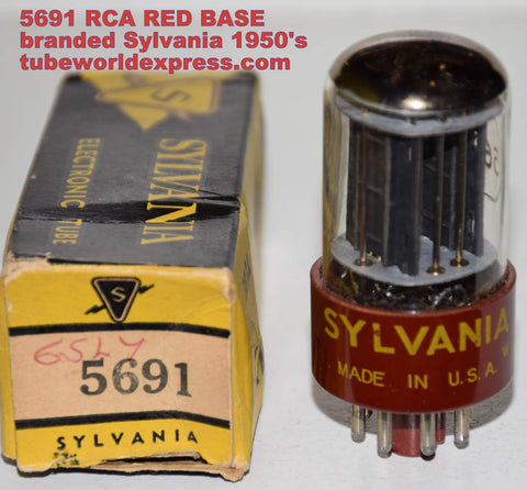 (!!!!) (Best Overall Single) 5691 RCA red base branded Sylvania black plates NOS 1950's (2.6/2.6ma) 1% section balance