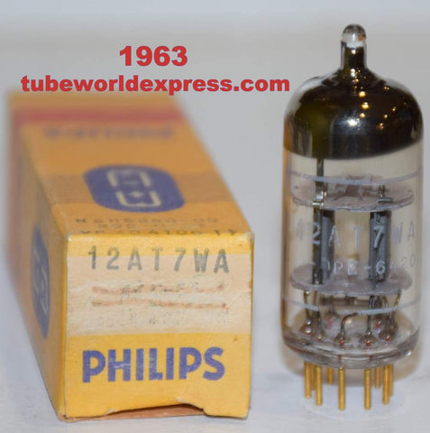 (!!!) (Recommended single) 12AT7WA=6201 Philips by Valvo Hamburg Germany gold pins NOS 1963 (10/12ma)