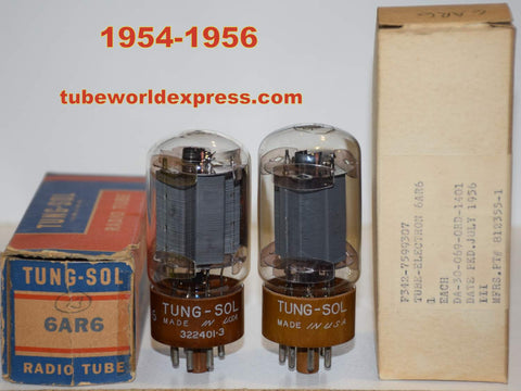(!!!!!) (BEST OVERALL PAIR) 6AR6 Tungsol NOS 1954-1956 (91.2ma and 92.5ma)