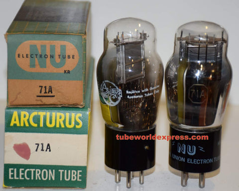 (!!!) (Recommended Pair) 71A National Union NOS 1950 era, 1 tube rebranded Arcturus in 1967 (24.5 and 25.2mama)