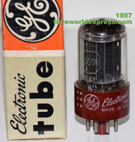 (!!!!) (Best Single) 5691 RCA Red Base branded GE Black Plates NOS 1957 (2.4/2.6ma)