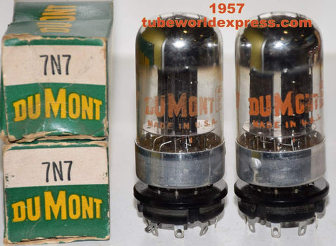 (!!!!) (Recommended Pair) 7N7 Sylvania chrome top branded Dumont NOS 1957 (9/10ma and 9.6/10.2ma)